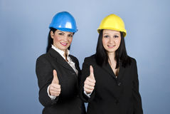 Architects women giving thumbs royalty free stock images