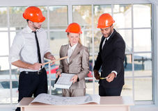 Architects at work. Three architects met in the office  Stock Photos