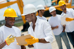 Architects working at a construction site Stock Image