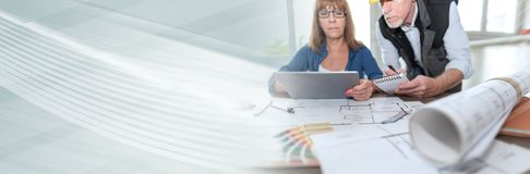 Architects working on plans. panoramic banner stock images