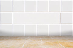 Architectual background made of white mosaic and orange floor Stock Photo