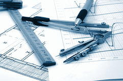 Architectur plans of residential real estate Stock Photography