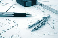 Architectur plans of residential real estate Royalty Free Stock Photo