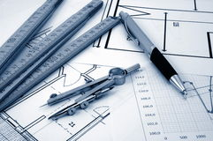 Architectur plans of residential real estate Stock Image