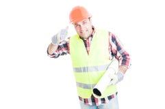 Architecturaal de dienstenconcept met knappe bouwer Stock Afbeelding