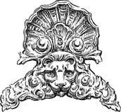Architecturaal detail met een leeuwhoofd vector illustratie