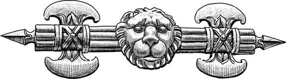 Architecturaal detail van bijl en leeuwhoofd vector illustratie