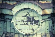 Architecturaal detail van de kerktoren Geoxydeerd koper royalty-vrije stock afbeelding