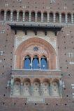 Architecturaal detail van de voorgevel van het Kasteel van Sforza Royalty-vrije Stock Foto
