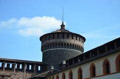 Architecturaal detail van de voorgevel van het Kasteel van Sforza Stock Fotografie