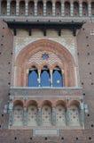 Architecturaal detail van de voorgevel van het Kasteel van Sforza Stock Afbeeldingen