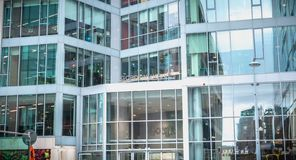 Architecturaal detail van het Gordon House-gebouw dat het internationale bedrijf Google in Dublin huisvest stock foto