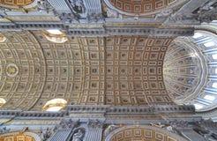 Architecturaal detail van St Peters het plafond van de Basiliek Royalty-vrije Stock Afbeelding