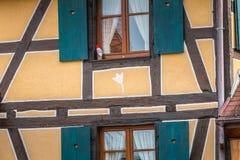 Architecturaal detail van typische en traditionele huizen in smal royalty-vrije stock afbeeldingen