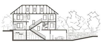 Architecturaal het niveauhuis van de schetsboom Sectionele tekening Stock Foto's