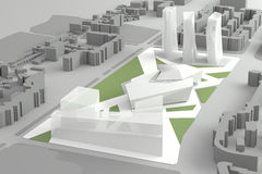 Architecturaal Modelof downtown financial-Stadscentrum Royalty-vrije Stock Fotografie