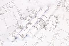 Architecturaal plan De tekeningen en de blauwdrukken van het techniekhuis Royalty-vrije Stock Afbeelding
