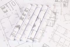 Architecturaal plan De tekeningen en de blauwdrukken van het techniekhuis Stock Afbeelding