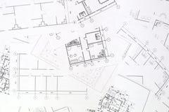 Architecturaal plan De tekeningen en de blauwdrukken van het techniekhuis royalty-vrije stock afbeeldingen