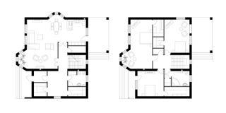 Architecturaal plan van een two-storey manor met een terras T Stock Fotografie