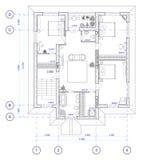 Architecturaal Plan van vloer 2 van huis Royalty-vrije Stock Afbeeldingen