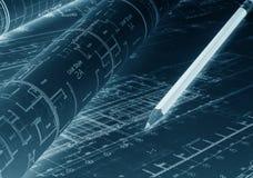 Architecturaal project De plannen van de blauwdrukvloer met potlood stock afbeeldingen