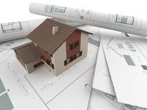 Architecturaal tekeningen en huis Stock Foto's