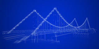 Architectural abstract. 3d wireframe render of a bridge Royalty Free Stock Photos