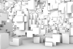 Architectural abstract 3d rendering background. Different-sized cubes randomly distributed in space. Light abstract modern architecture background. 3d rendering Stock Photography