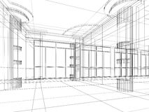 Architectural abstract sketch. Abstract design sketch of modern office interior Royalty Free Stock Image