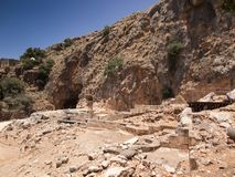 Architectural antiquities in natural reservation of Hermon river. Banyas - Cult center of the God Pan, north of Israel Stock Photo