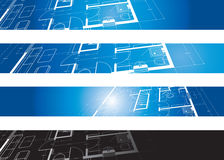 Architectural background. Architectural drawing background on four banners royalty free illustration