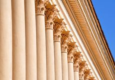 Architectural background. The architectural background of the Corinthian columns around the perimeter of the Winter Theater in Sochi, close-up Royalty Free Stock Photos