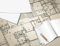Architectural background drawing technical letters Royalty Free Stock Image