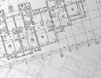 Architectural background drawing technical letters Stock Image