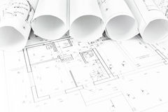 Architectural background with rolls Stock Image