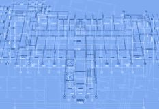 Architectural background with technical drawings. Blueprints plan texture. Drawing part of architectural project. Architectural background with technical stock illustration