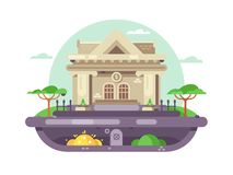 Architectural bank building. Financial institution with columns in flat style. Vector illustration Royalty Free Stock Photos