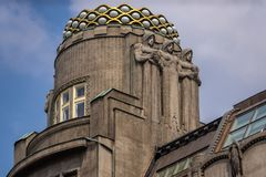 Architectural beauty on the roof top of hostel Ananas, Wenceslas square Prague royalty free stock image