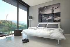 Architectural Bedroom Design with Glass Windows Stock Photo