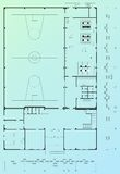 Architectural blueprint. Of sport building Royalty Free Stock Photos