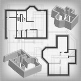 Architectural blueprint. Of house plan.  background Royalty Free Stock Images