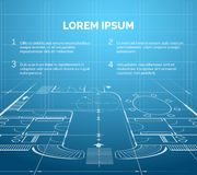 Architectural blueprint background Stock Photo