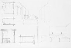 Architectural blueprint of bedroom. Graphic illustration and architectural blueprint of an apartment bedroom Stock Photos