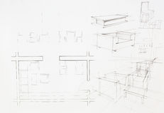 Architectural blueprint of dinning area Royalty Free Stock Photo