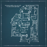 Architectural Blueprint Floor Plan. Two Bedrooms Apartment Stock Images
