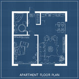 Architectural blueprint with furniture in top view Royalty Free Stock Photography