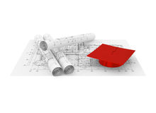 Architectural blueprint and graduation cap Royalty Free Stock Photos