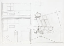 Architectural blueprint of living room Royalty Free Stock Photo