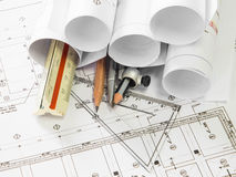 Architectural blueprint Royalty Free Stock Photos